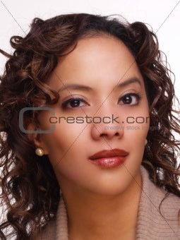 Portrait Young Woman Hispanic Background