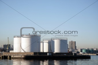 Storage tanks in Aberdeen Harbour