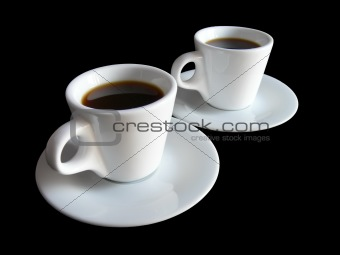 Two cups of coffee on black