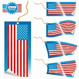 American flag modern tags and sticker
