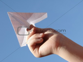 hand with plane