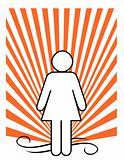 Female figure on an orange sunburst.