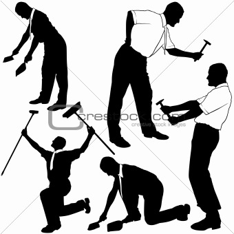Business Cleaning and Repair Silhouettes