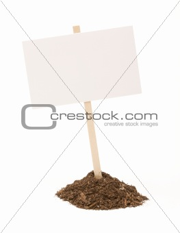 Blank White Sign in Dirt Pile Isolated