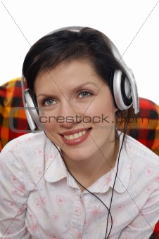 Beautiful women listening music