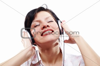 Beautiful women listening music