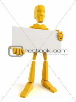 3d man holding the blank poster