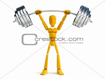 3d man hold heavy weight