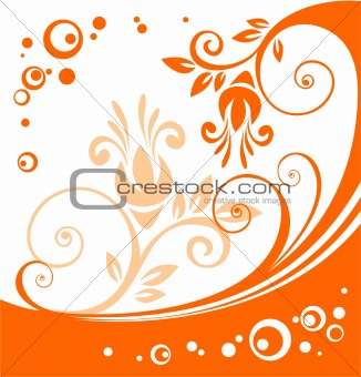 orange flowers pattern