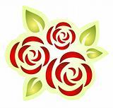 three ornate roses