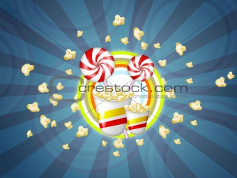 Candies and popcorn