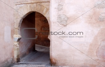 Arabic arch door in Granada