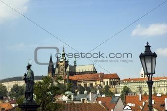 Prague castle, lantern and saint John