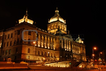 Czech national museum in the night
