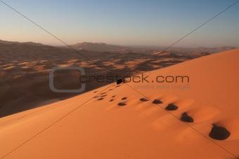 Footsteps in Erg Chebbi sand dunes