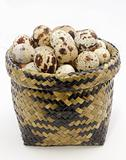 The quail's eggs in basket