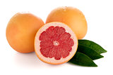 Ripe cut red grapefruit