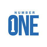 blue and white number one diagonal logo template