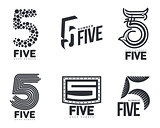 Set of black and white number five logo templates