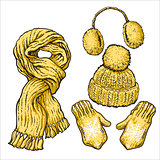 Set of yellow knotted scarf, hat, ear muffs and mittens