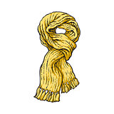 Bright yellow slip knotted winter knitted scarf with tassels