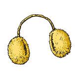 Bright yellow fluffy fur ear muffs