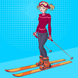Winter holidays. Beautiful young girl on ski