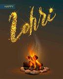 Happy Lohri Punjabi festival. Bonfire on dark background and lettering text