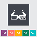3D glasses single flat icon.