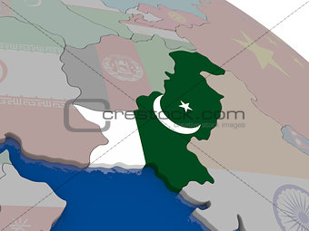 Pakistan with flag