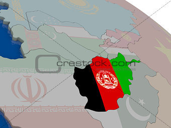 Afghanistan with flag