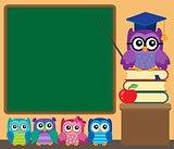 Owl teacher and owlets theme image 1