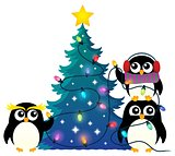 Penguins around Christmas tree theme 1