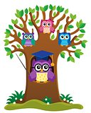 Tree with stylized school owl theme 1