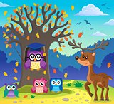 Tree with stylized school owl theme 5