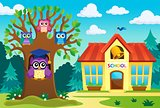 Tree with stylized school owl theme 6