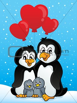 Valentine penguins in snow