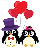 Valentine penguins theme image 1