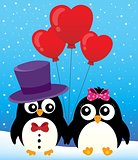 Valentine penguins theme image 2