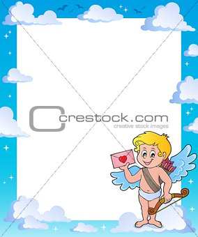 Frame with Cupid holding envelope