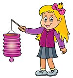 Girl with paper lantern theme image 1