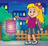 Girl with paper lantern theme image 2