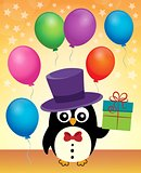 Party penguin with hat and gift