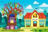 Tree with stylized school owl theme 7