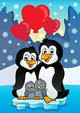 Valentine penguins near seashore