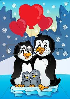 Valentine penguins near seashore