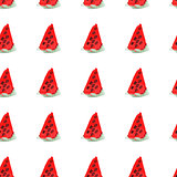 Seamless natural color pattern of red ripe watermelon. Natural seamless pattern of garden market fruits