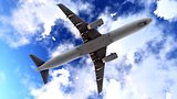 Generic jet airliner in a beautiful cloudy sky 3d rendering