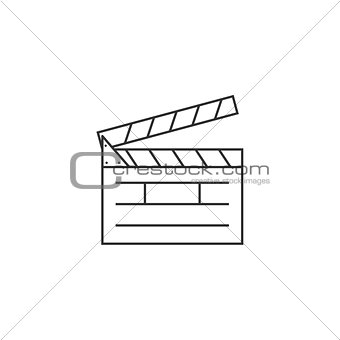 Clapper board line icon