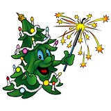 Happy Christmas Tree with Sparkler